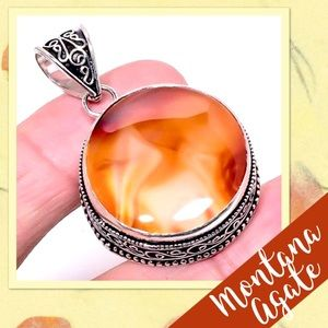 """Jewelry - 🌻Montana Lace Agate Sterling Pendant 1.89"""" NWOT🌻"""